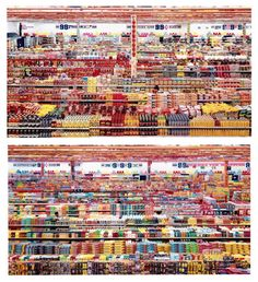 """The artwork 99 Cent II Diptychon from 2001 is a two part photograph made by Andreas Gursky probably in 1999, as the work is sometimes called """"99 cent.1999""""."""