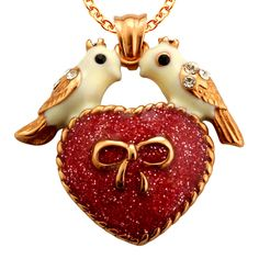 Two Love Birds Heart Pendant with Austrian Crystal  Valentines Day #Unbranded #Pendant http://stores.ebay.com/JEWELRY-AND-GIFTS-BY-ALICE-AND-ANN