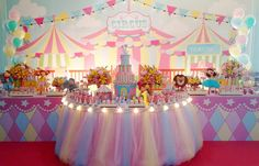 No photo description available. Dumbo Birthday Party, Carousel Birthday Parties, Carousel Party, Carnival Themed Party, Circus Birthday, Circus Party, Unicorn Birthday Parties, Birthday Party Decorations, Carnival Baby Showers