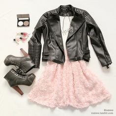 This would be a very cute blend of cute and girly with the pastel pink and some light makeup with an edu blend with the leather jacket and black heeled lace ups.