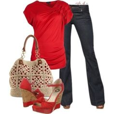 red outfit with jean