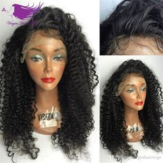 Best Brazilian Kinky Curly Full Lace Human Hair Wigs Glueless Curly Lace Front Wig With Baby Hair Natural Black Color Online with $72.37/Piece on Virginhairwigs's Store   DHgate.com