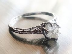 Raw Diamond Ring // Rough Diamond Ring // Natural Diamond Ring. My perfect ring/raw/twisted metal/beautiful. I WANT one!!!!