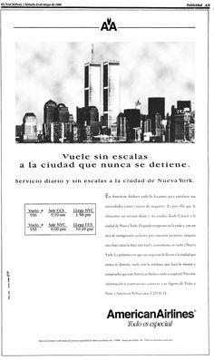 American Airlines y las Torres Gemelas. Publicado el 25 de mayo de 1996.