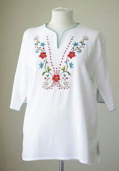 White cotton blouse for women Cotton shirt Boho by soStyle on Etsy Embroidery On Kurtis, Kurti Embroidery Design, Embroidery Neck Designs, Embroidery Suits, Embroidery Fashion, Floral Embroidery, Embroidery Stitches, Embroidery Patterns, White Cotton Blouse