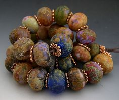 Naos Glass - Roman Gardens Mega Set 30 beads - Made To Order Handmade Lampwork Beads SRA - Cobalt Orchid Lavender Teal Rust
