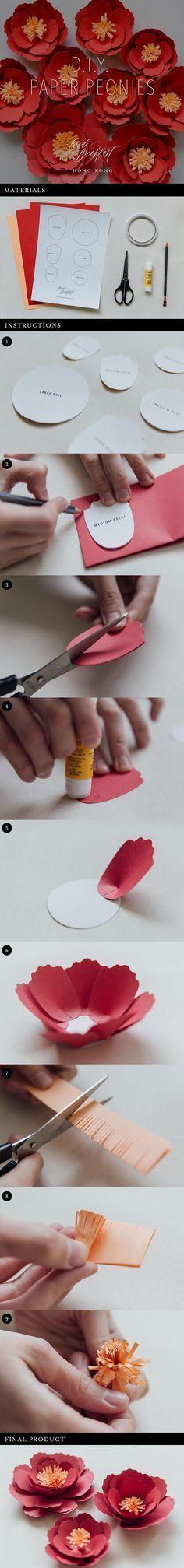 DIY Paper Peonies | Paper Craft | Paper Flowers | Wedding Decor | Free Printable Template