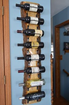 8 bottle wine rack with individually crafted steel wine cradles. Wood has been clear - Beautiful live edge wine rack, wonderful wood grain. 8 bottle wine rack with individually crafted s - Woodworking Projects Diy, Wood Projects, Woodworking Plans, Router Woodworking, Woodworking Workshop, Popular Woodworking, Woodworking Videos, Live Edge Furniture, Diy Furniture