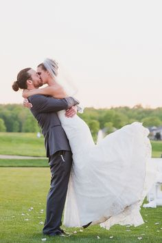 David's Bridal bride Brittney in a lace trumpet wedding gown with her groom Ryan