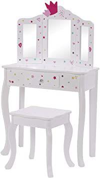 Utex Pretend Play Kids Vanity Table And Chair Vanity Set With Mirror Makeup Dressing Table With Drawer Pla Dressing Table With Drawers Kids Vanity Vanity Table