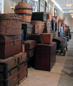 Ellis Island National Monument, New York Harbor, New York - Some of the many vintage luggage pieces at Ellis Island.