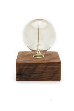 Solo Bulb Wood Block Lamp -Bengston Woodworks