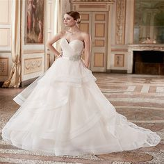 Vestido DE Novia Vintage 2017 Qrganza Court Train Tiered Sashes White/ Lvory Wedding Dresses Luxus Brautkleider size 2-26