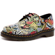 Dr. Martens 1461 3 Eye Shoe Multi (259 AUD) ❤ liked on Polyvore featuring shoes, anti slip shoes, genuine leather shoes, dr martens footwear, short heel shoes and slip resistant shoes