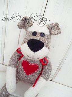 Sock Monkey Doll, Puppy Dog Love | Sock Monkey Bizz | Etsy. Even cuter than the typical Sock Monkey.