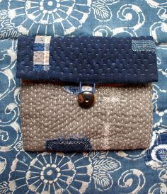 treasury :pouch/purse/wallet in linen , vintage Japanese cotton and hemp, hand sewn
