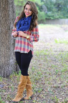 Crossing Paths Blouse: Coral/Plaid