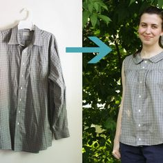 Upcycle a Men's Shirt into a Retro Summer Blouse Excellent tutorial! Thanks for posting this!
