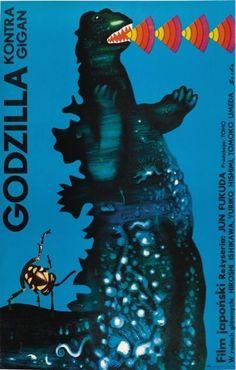 GODZILLA Movie Poster Gojira Monster Gigan Polish Rare Art