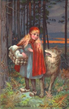 artist signed - Little Red Riding Hood by Jenny Nystrom (Sweden) 1900's-1920s