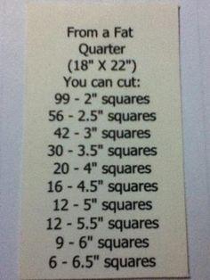Squares from a fat quarter