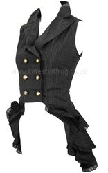 Spin Doctor Pinstripe Steampunk Waistcoat with Ruffles. £33.99