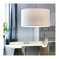 I think I just found my drum shade to use to hack by covering with nicer fabric/metals, yay!!!  For the kitchen nook  $39.00 NYMÖ Lamp shade  - IKEA