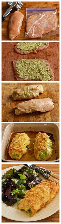 Baked chicken stuffed with pesto and cheese (Frango assado recheado com pesto e queijo) New Recipes, Cooking Recipes, Favorite Recipes, Healthy Recipes, Recipies, Fancy Recipes, Protein Recipes, Cream Recipes, Healthy Meals
