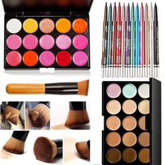 Mefeir 15 Colors Professional Concealer Camouflage Makeup Palette Contour Face Contouring Kit   Oblique Head Contour Makeup Brush   15 Color Lip Gloss Palette   12 Colors Eyeliner Eyebrow Pencil Pen >>> Want to know more, click on the image. (Note:Amazon affiliate link)