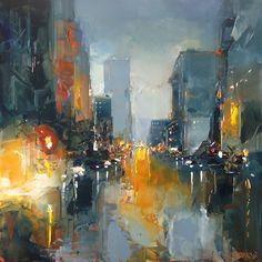 NOCTURNE SAN FRANCISCO.jpg (Peinture), 100x100 cm par Daniel CASTAN Huile sur toile