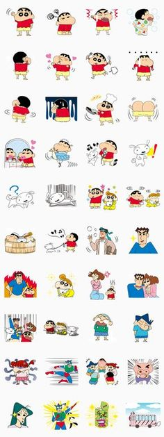 Crayon Shin-chan + Animated + Pastel + Pops Up Sticker for LINE, WhatsApp, Telegram — Android, iPhone iOS