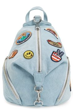 Free shipping and returns on Rebecca Minkoff Medium Julian Patchwork Backpack at Nordstrom.com. A campus-classic backpack goes '90s in light-wash denim plastered with playful patches for serious street-chic attitude. A gleaming clip-lock detail and dangling zip tassels add signature touches.