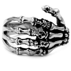 Stainless Steel Biker Ring with Gothic Skeleton Hand - Crazy2Shop - List price: $26.25 Price: $6.00 Saving: $20.25 (77%)