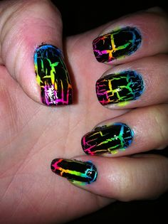Rainbow Nails with Black Crackle