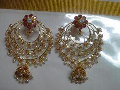 Gold Earrings Designs, Gold Hoop Earrings, Necklace Designs, Diamond Earrings, India Jewelry, Wire Jewelry, Bridal Jewelry, Gold Jewelry, Fancy Jewellery