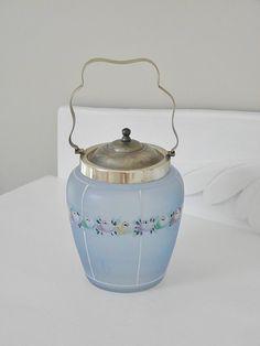 Vintage Blue Glass Hand Painted Biscuit Barrel, Cookie Jar. $78.00, via Etsy.