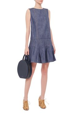 A fresh, feminine take on denim, this **Suno** dress features a pleated hem and contrast embroidery.