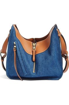Loewe Small Tri-tone Denim & Leather Hobo available at #Nordstrom