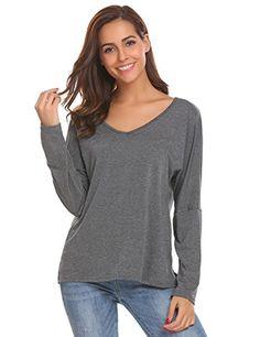 1be59672d0c ACEVOG Womens Long Sleeve Tops V Neck Casual Teen Girls Tees Loose T Shirts  Grey XXL