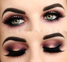 52 Ideas For Eye Shadow Purple Gold Winged Liner Pretty Makeup, Love Makeup, Makeup Tips, Makeup Looks, Hair Makeup, All Things Beauty, Beauty Make Up, Hair Beauty, Gold Smokey Eye