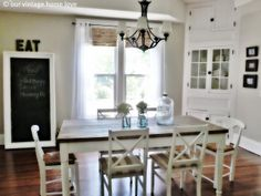 Love this dining room. Shades from Lowe's, grommit curtain sheers on the cheap at walmart.