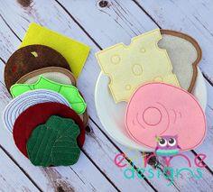 Sandwich Felt Food Set Embroidery Design