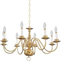 Quorum International Q6171-8 8 Light 1 Tier Candle Style Chandelier Polished Brass / Solid Brass Indoor Lighting Chandeliers