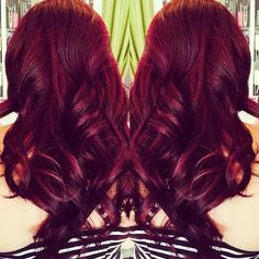 Vivid color red violet violet red hair color by Jessica long hair @salonink