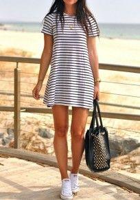 White-Black Striped Print Round Neck Short Sleeve Mini Dress