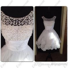 Wholesale Prom Dresses - Buy 2014 New Hot Prom Dresses,Fashion White Tull Sheer Neck Appliques And Pearls Short A-line Plus Size Exquisite Cheap Formal Dresses, $131.76   DHgate