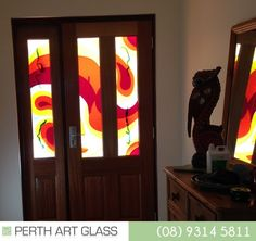 Fused panels, laminated for safety, created as windows for a front door in Wanneroo, WA. Fuse Panel, Kiln Formed Glass, Perth, Glass Art, Safety, Windows, Create, Artist, Home Decor