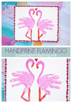 Handprint Flamingo {Kid Canvas Craft} - Glued To My Crafts