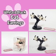 Kawaii Earring  White and Black Cat Stud Polymer Clay