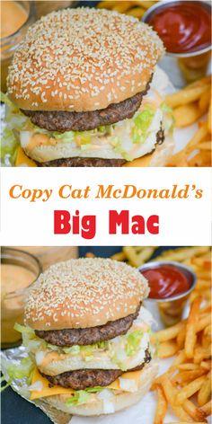 Copy Cat McDonald's Big Mac – Best easy cooking – Best easy cooking – Best Art images in 2019 Mcdonald's Big Mac Sauce Recipe, Sauce Recipes, Beef Recipes, Cooking Recipes, Homemade Big Mac Sauce, Cheap Recipes, Cheat Meal, Burger Recipes, Copycat Recipes